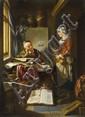 HENDRICK HEERSCHOP, THE SCHOLAR AND HIS MAID IN AN INTERIOR, , 52.5 x 38.5 cm