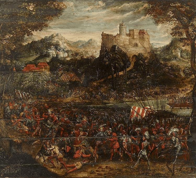 MASTER OF THE WÜRZBURG BATTLE, follower of, BATTLE SCENE WITH LANDSQUENETS, oil on panel (parqueted), 112 x 128 cm