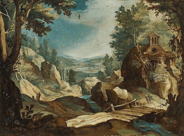 ANTWERP SCHOOL, ealry 17th Century, MOUNTAIN LANDSCAPE, oil on copper, 20 x 27 cm