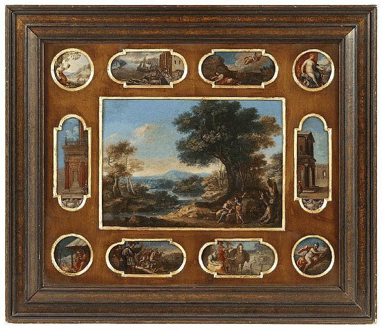 FLEMISH SCHOOL, 17th Century, ELEVEN COPPER PLATES WITH DIFFERENT DEPICTIONS, oil on copper, Different sizes: 23.5 x 32.5 cm, 17 x 6 cm, 6,5 x 13 resp. 13,5 cm, the tondi diameter of 7 cm each