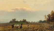 Bernhard Mühlig, Peasants working the FieldsHunters by a Pond