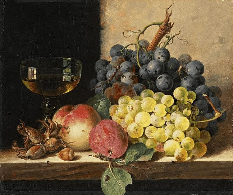EDWARD LADELL, A STILL LIFE OF GRAPES, PLUMS, HAZELNUTS, A PEACH, AND A WINE GLASS ON A LEDGE, oil on canvas, 25.5 x 30.5 cm