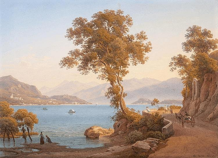 SALOMON CORRODI, AT A NORTH ITALIAN LAKE, Watercolour, 42.5 x 58 cm