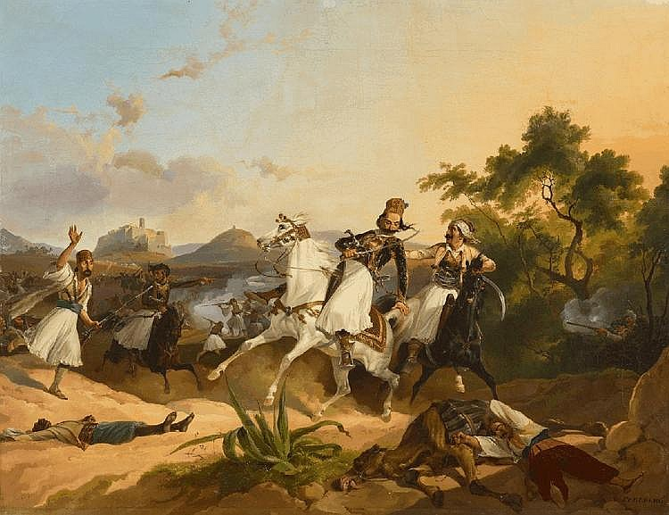 CHRISTIAN JOHANN GEORG PERLBERG, PALICARS FIGHTING - SCENES FROM THE GREEK LIBERATION, oil on canvas (relined), 62 x 80 cm