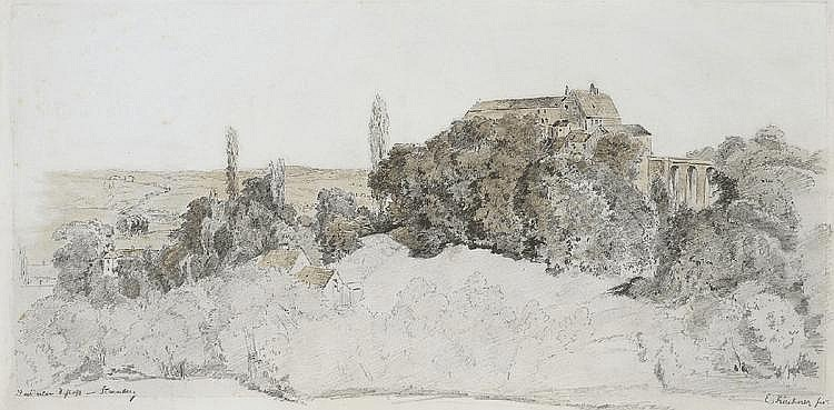 ALBERT EMIL KIRCHNER, THE OLD CASTLE, STARNBERG, Watercolour over pencil, 25 x 51.3 cm