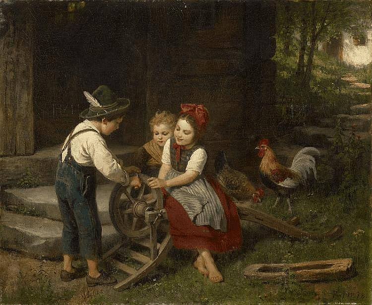 RUDOLF EPP, THE LITTLE SCISSORS GRINDER, oil on canvas (relined), 65 x 79 cm