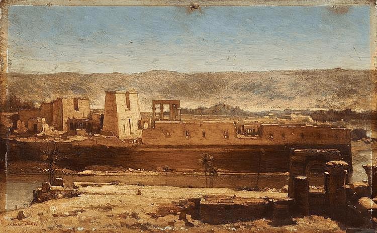 LOUIS-FELIX-ACHILLE DIEN, LANDSCAPE NEAR THE RIVER NILE, oil on panel, 32 x 49 cm