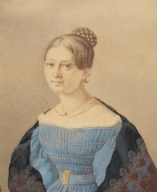 CARL WILHELM TISCHBEIN, PORTRAIT MRS. VON STRACK, Watercolour over pencil, mounted, 16.5 x 14 cm