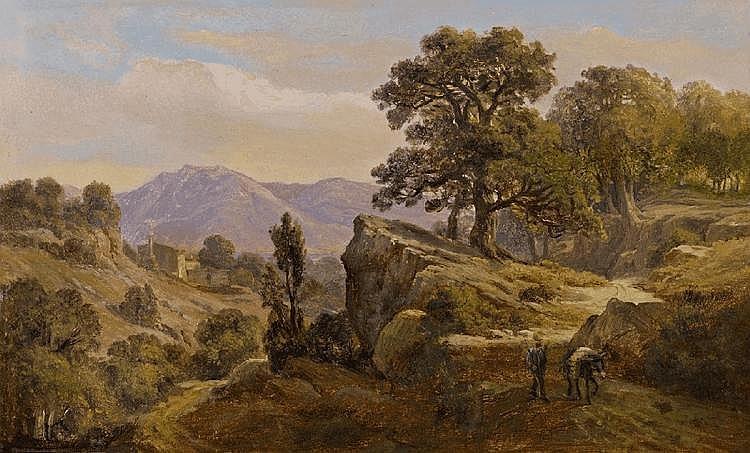JOHANN WILHELM SCHIRMER, ITALIAN MOUNTAIN LANDSCAPE, oil on paper, mounted on wood, 21 x 34 cm