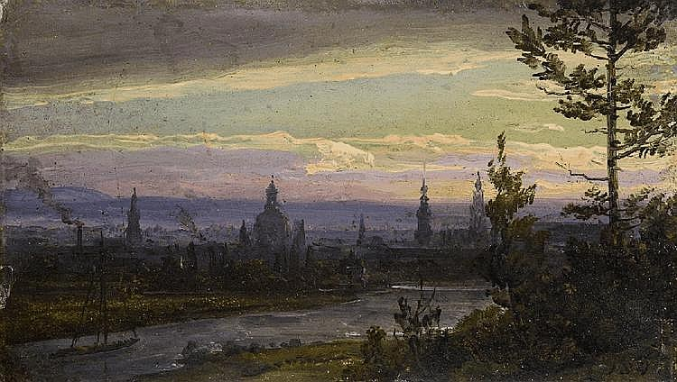 JOHAN CHRISTIAN CLAUSEN DAHL, TWO VIEWS OF DRESDEN BY MOONLIGHT, oil on card, 7 x 11.3 and 6,5 x 11.7 cm