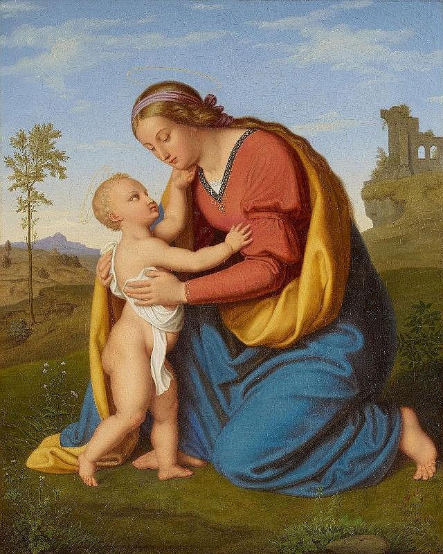 BERNHARD ENDRES, THE VIRGIN WITH CHILD, oil on canvas, 70 x 56 cm