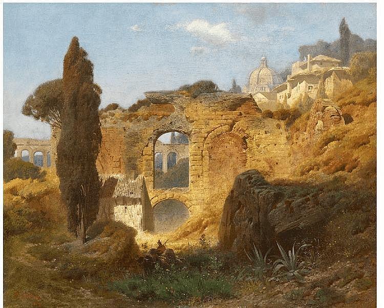 FERDINAND KNAB, THE RUINS OF TAORMINA, oil on canvas, 49 x 61.5 cm
