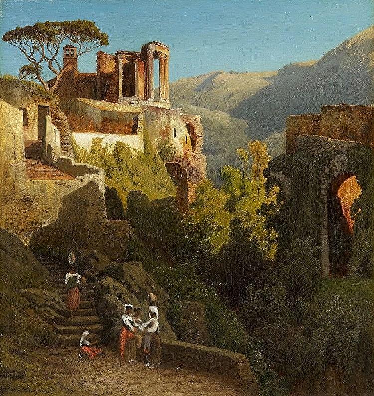 CARL JUNGHEIM, THE TEMPLE OF VESTA AT TIVOLI, oil on canvas, 52.5 x 49 cm