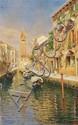 RUBENS SANTORO, VIEW OF VENICE, oil on panel, 47.5 x 29.5 cm