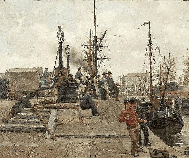 EDGARD FARASYN. THE HARBOUR IN ANTWERP WIT