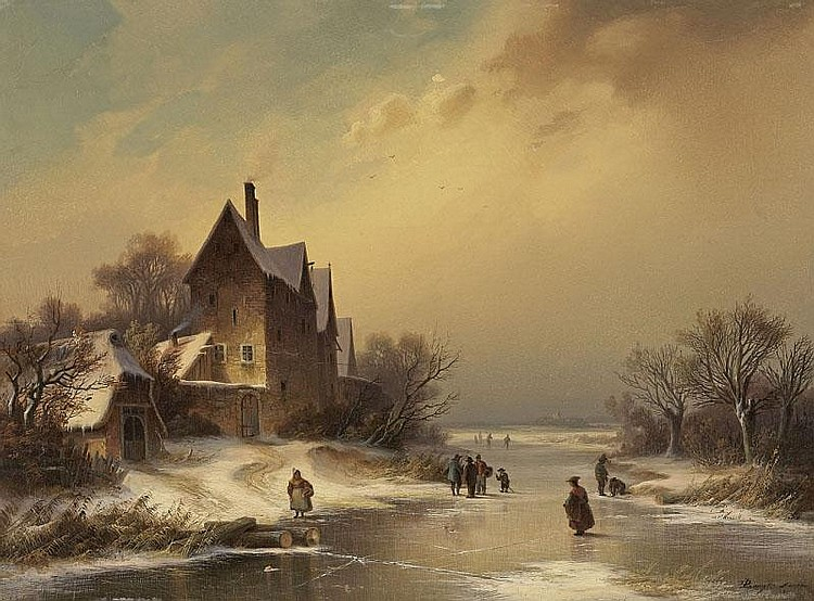 DIETRICH LANGKO. WINTER LANDSCAPE WITH FROZEN