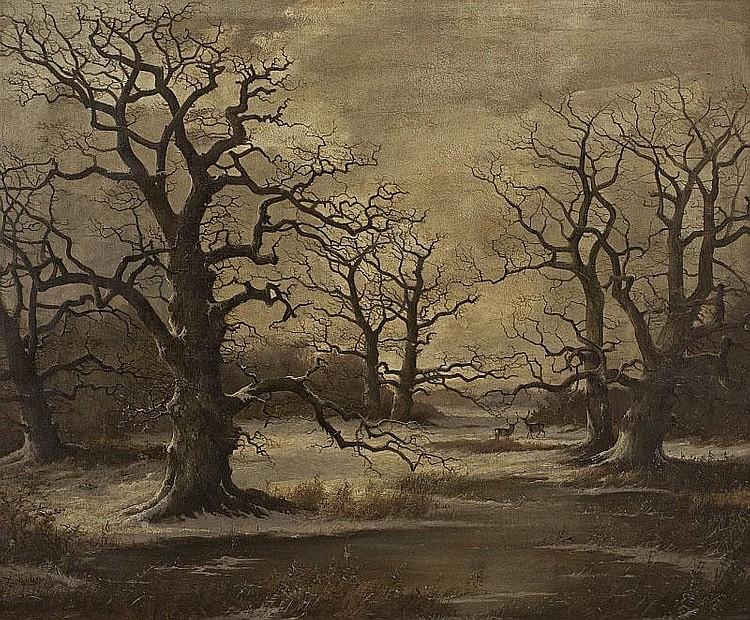 GEORG HÖHN. WINTER LANDSCAPE WITH AN OLD OAK TREE