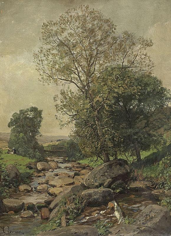 CARL IRMER. SPRING LANDSCAPE WITH STREAM. Oil on