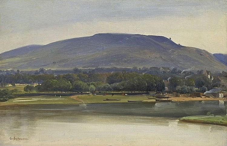 CASPAR SCHEUREN. RHEINAUE. Oil on panel. 19 x 29,8