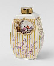 A KPM porcelain tea caddy with river landscapes. H