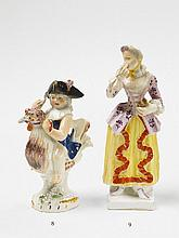 A Wegely porcelain figure of a lady with a snuff