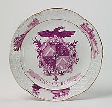 A Wegely porcelain plate with the coat of arms of