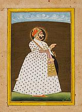 A Rajasthani portrait of Maharaja Madho Singhji of Jodhpur. 19th century