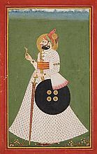 A Rajasthani portrait of  Maharaja Man Sing. Jodhpur. Around 1800