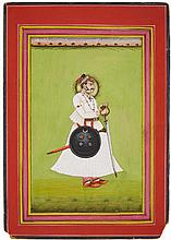 A Rajasthani portrait of Maharaja Ahri Bikaji. Bikaner. Dated 1925