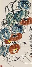 Pumpkins, large leaves and insect.Qi Liangyi was