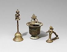 Three Indian brass objects. 19th/20th century