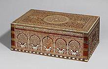 A large Hoshiarpur shisham wood cosmetic box. Northern India. Late 19th century