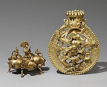 A brass cosmetic container and a placque. 20th century