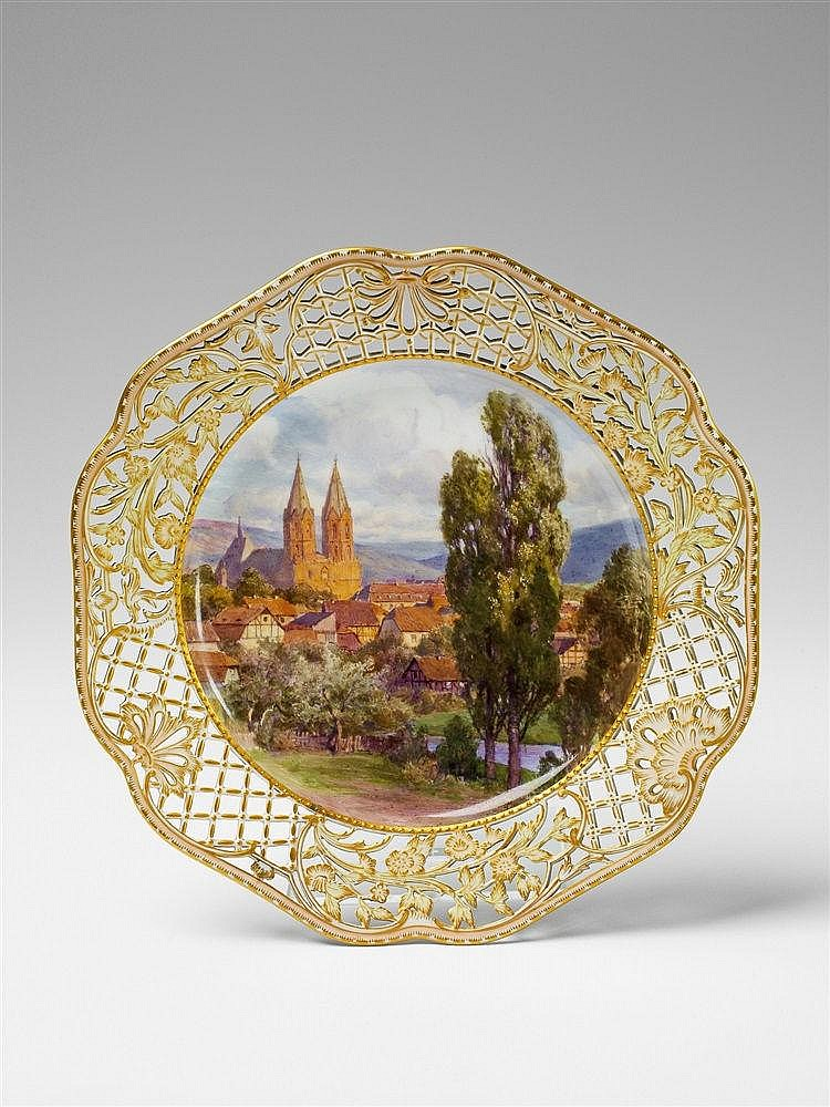 a berlin kpm porcelain plate with a view of heiligenstadt. Black Bedroom Furniture Sets. Home Design Ideas