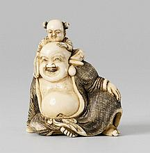 An ivory netsuke of a friendly Hotei. Early 19th century