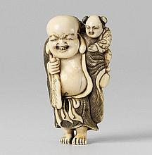An ivory netsuke of a chubby Hotei. Early 19th century