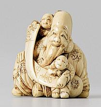 A very impressive ivory netsuke of Fukurokuju with two karako, by Masatsugu. Early 19th century