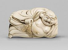 An ivory netsuke of a resting Hotei. Late 18th century