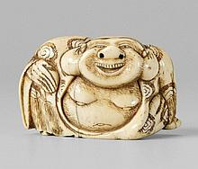 A large and grotesque netsuke of a laughing Hotei. Late 18th century