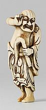 An ivory netsuke of a sennin. 18th century