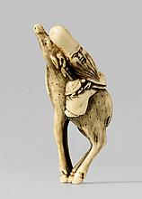 A very unusual ivory netsuke of Jurôjin. Early 19th century
