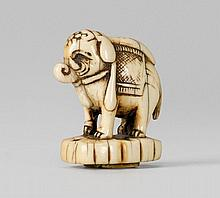 An ivory seal netsuke of an elephant. 18th century