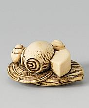 An ivory netsuke of various takaramono. Late 18th century