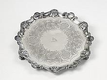 A George II London silver salver. Marks of