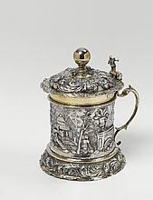 An Augsburg silver partially gilt lidded tankard.