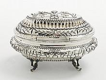 A Moscow silver sugar box. Marks of master S.F.,