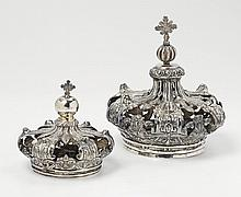 Two silver crowns for Madonna figures. Unmarked,