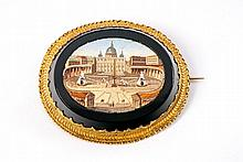 An 18 ct gold and coloured glass Roman micromosaic