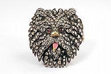 A French Belle Epoque gold, silver gem-set dog's