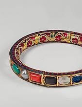 A 22 ct gold Jaipur enamel gemset Indian bracelet.